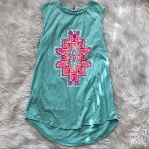 Bright and colorful Aztec graphic long tank top
